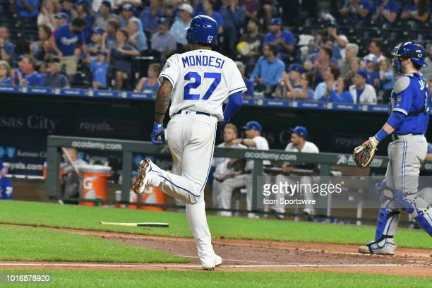 Kansas City Royals shortstop Adalberto Mondesi scores in the third inning during a MLB game between the Toronto Blue Jays and the Kansas City Royals...