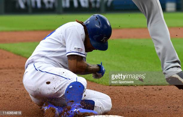 Kansas City Royals shortstop Adalberto Mondesi steals third in the third inning during game two of a doubleheader Major League Baseball game between...