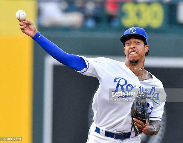Kansas City Royals shortstop Adalberto Mondesi throws out the St Louis Cardinals' Adolis Garcia at first on a ground out in the third inning on...