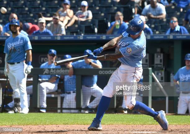 Kansas City Royals shortstop Adalberto Mondesi ties the game in the fifth inning with a tworun home run during a MLB game between the Minnesota Twins...