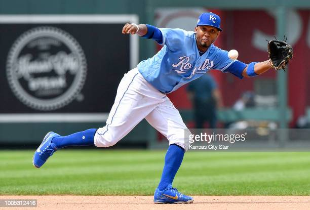 Kansas City Royals shortstop Alcides Escobar runs down a ground out on Detroit Tigers' Jose Iglesias in the eighth inning on Wednesday July 25 2018...