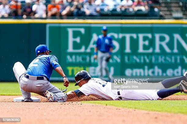 Kansas City Royals shortstop Alcides Escobar tags out Detroit Tigers center fielder Anthony Gose at second base during the first inning of a regular...