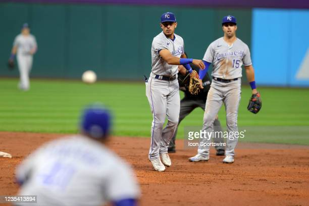Kansas City Royals shortstop Nicky Lopez throws to second base to complete a double play during the third inning of the the Major League Baseball...