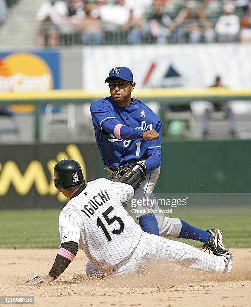 Kansas City Royals' Shortstop, Tony Pena Jr. Avoids Tadahito Iguchi and turns a double play during their game versus the Chicago White Sox May 13,...