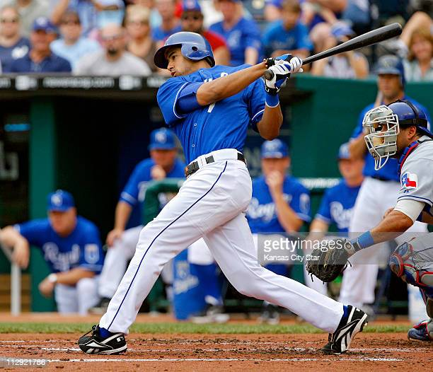 Kansas City Royals shortstop Tony Pena Jr hits a two RBI double in the second inning against the Texas Rangers The Royals defeated the Rangers 100 at...
