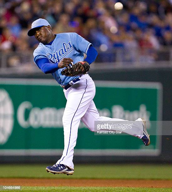 Kansas City Royals shortstop Yuniesky Betancourt throws out Tampa Bay Rays' Matt Joyce at first in the sixth inning at Kauffman Stadium in Kansas...