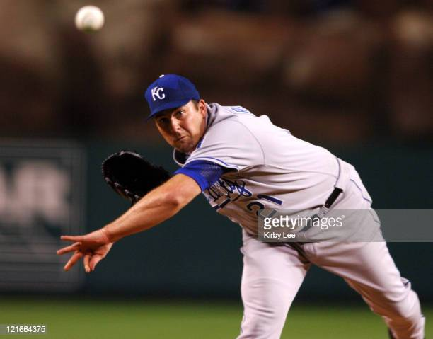 Kansas City Royals starter Mark Redman pitches during 43 victory over the Los Angeles Angels of Anaheim at Angel Stadium in Anaheim Calif on...