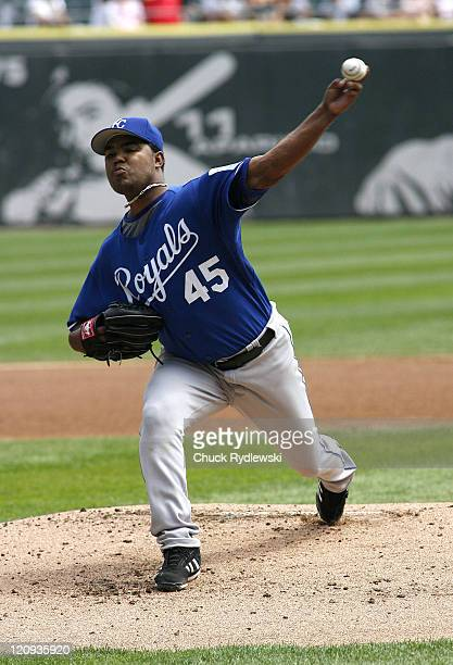 Kansas City Royals' Starter, Odalis Perez, pitches during their game against the Chicago White Sox August 17, 2006 at U.S. Cellular Field in Chicago,...