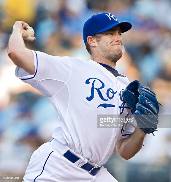 Kansas City Royals starting pitcher Brian Bannister throws in the first inning against the Los Angeles Angels at Kauffman Stadium in Kansas City...