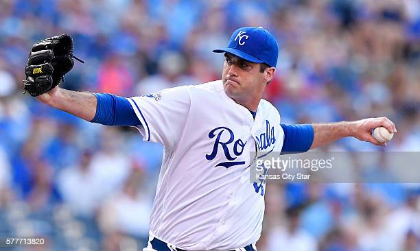 Kansas City Royals starting pitcher Brian Flynn throws in the first inning against the Cleveland Indians on Tuesday July 19 at Kauffman Stadium in...