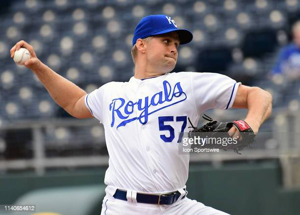 Kansas City Royals starting pitcher Glenn Sparkman pitches during game two of a doubleheader Major League Baseball game between the Tampa Bay Rays...