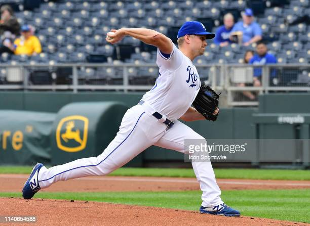 Kansas City Royals starting pitcher Glenn Sparkman pitches in the first inning during game two of a doubleheader Major League Baseball game between...