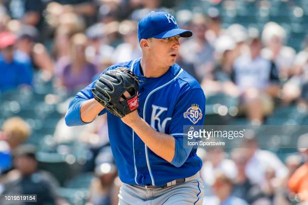 Kansas City Royals starting pitcher Heath Fillmyer prepares to pitch during a game between the Kansas City Royals and the Chicago White Sox on August...