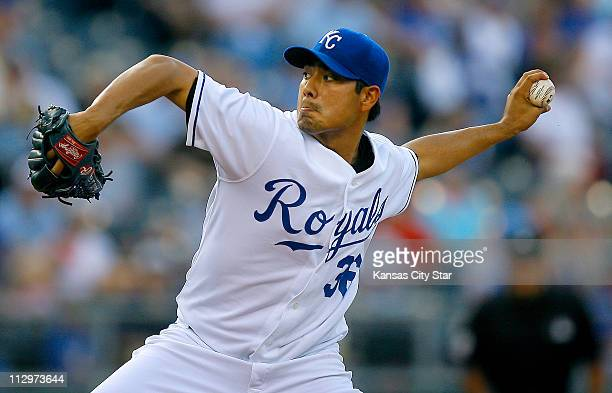 Kansas City Royals starting pitcher Jorge De La Rosa throws against the Seattle Mariners on Tuesday July 3 in Kansas City Missouri