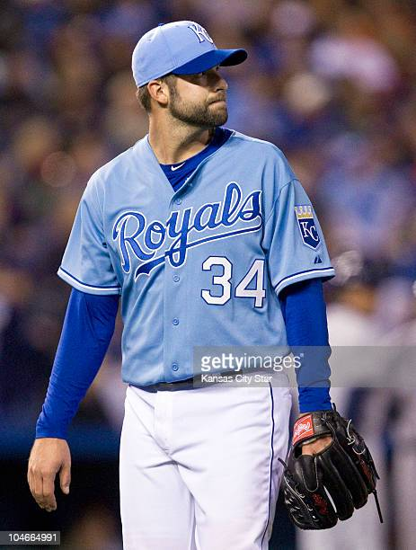 Kansas City Royals starting pitcher Kyle Davies was relieved in the sixth inning of a baseball game against the Tampa Bay Rays at Kauffman Stadium in...