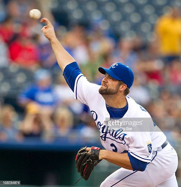Kansas City Royals starting pitcher Kyle Davies works in the first inning against the Los Angeles Angels at Kauffman Stadium in Kansas City Missouri...