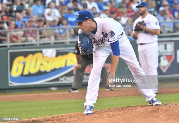 Kansas City Royals starting pitcher Matt Strahm pitches in the third inning during a MLB game between the Boston Red Sox and the Kansas City Royals...