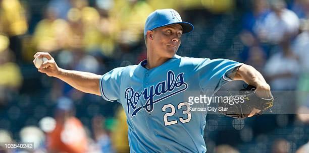 Kansas City Royals starting pitcher Zack Greinke throws in the first inning against the Chicago White Sox at Kauffman Stadium in Kansas City Missouri...