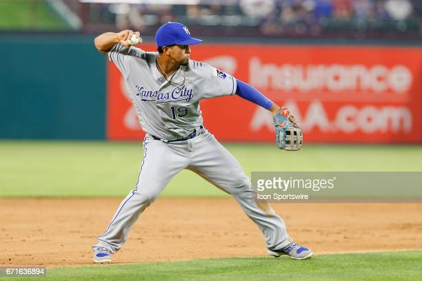 Kansas City Royals Third base Cheslor Cuthbert makes a play on a ground ball during the MLB game between the Kansas City Royals and Texas Rangers on...