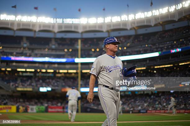 Kansas City Royals third base coach Mike Jirschele walks to the dugout during the game against the New York Yankees at Yankee Stadium on May 12 2016...