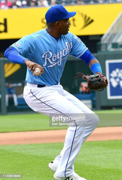 Kansas City Royals third baseman Kelvin Gutierrez throws to first for an out during a Major League Baseball game between the Tampa Bay Rays and the...