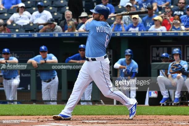 Kansas City Royals third baseman Mike Moustakas at bat in the first inning during a Major League Baseball game between the Tampa Bay Rays and the...
