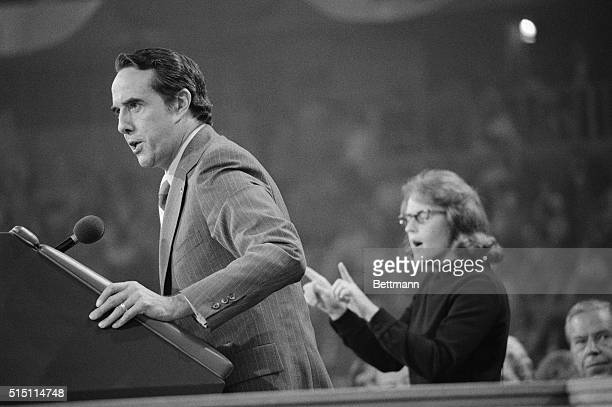 Senator Robert Dole of Kansas delivers his vice presidential speech at the closing session of the Republican National Convention Ula Williams of...