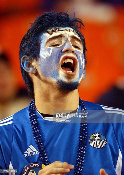 Kansas City Wizards fan Eric King yells for his team during the Major League Soccer Western Conference Championship against the Los Angeles Galaxy on...