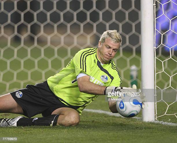 Kansas City Wizards Kevin Hartman stop one of the seven shot from Chivas USA. Kansas City Wizards held on to its single-goal series lead at the Home...