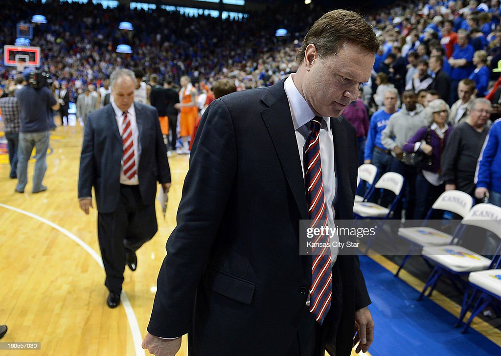 Kansas coach Bill Self leaves the court after an 85-80 upset loss at the hands of Oklahoma State at Allen Fieldhouse in Lawrence, Kansas, on Saturday, February 2, 2013.