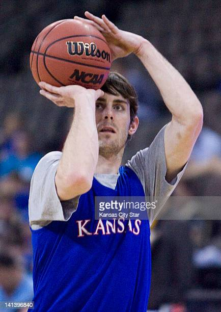 Kansas' Conner Teahan takes aim during a shootaround practice as Kansas prepares for its NCAA Tournament opener against Detroit at the CenturyLink...