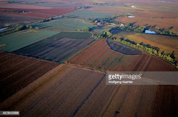USA Kansas Flint Hills Near Cottonwood Falls Aerial View Of Farmland