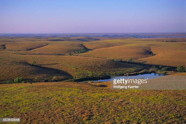 USA Kansas Flint Hills Near Cottonwood Falls Aerial View Of Tallgrass Prairie