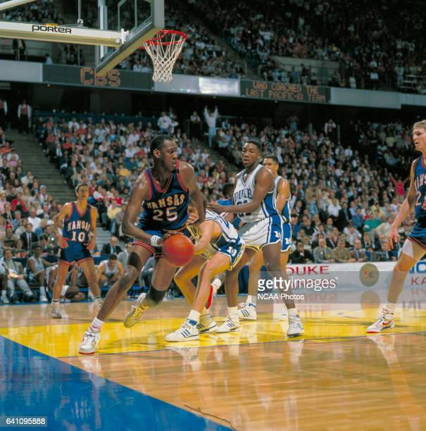 Kansas forward Danny Manning during the NCAA Photos via Getty Images Men's National Basketball Final Four semifinal game held at the Kemper Arena in...