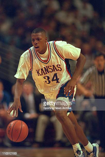 Kansas forward Paul Pierce dribbling the ball during the Great Eight finals against Cincinnati on December 4 1996 at the United Center in Chicago...
