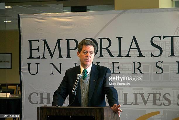 Kansas Governor Sam Brownback annouces increased funding for higher education at Emporia State University Emporia Kansas April 14 2014