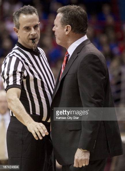 Kansas head coach Bill Self gets in the face of referee John Moore... News Photo - Getty Images
