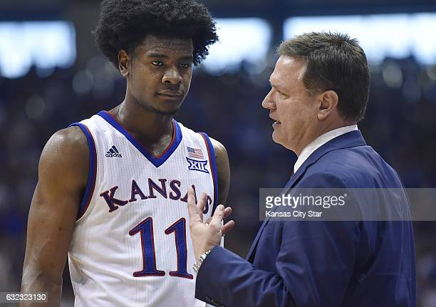 Kansas head coach Bill Self talks strategy with Josh Jackson in action against Texas at Allen Fieldhouse in Lawrence Kan on Saturday Jan 21 2017...