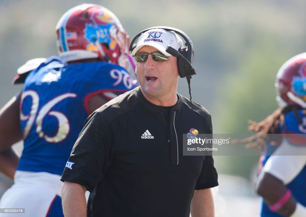 Kansas Head Coach David Beaty during the game between the Kansas Jayhawks and the West Virginia Mountaineers on September 23, 2017 at Memorial Stadium in Lawrence, KS.
