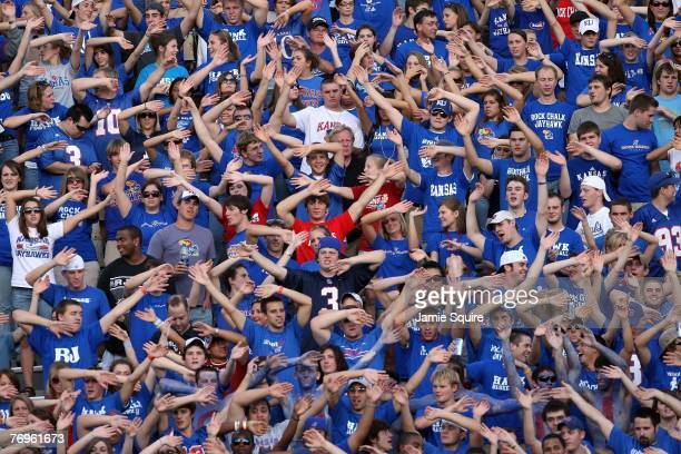 Kansas Jayhawk fans cheer during the game against the Florida International Golden Panthers on September 22 2007 at Memorial Stadium in Lawrence...