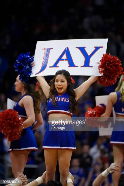 Kansas Jayhawks cheerleaders perform against the Iowa State Cyclones at Allen Fieldhouse on January 9 2018 in Lawrence Kansas