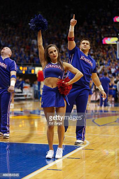 Kansas Jayhawks cheerleaders performs during a game against the Baylor Bears at Allen Fieldhouse on January 20 2014 in Lawrence Kansas