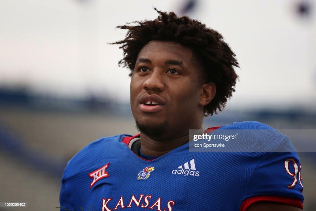hot sale online a860c 8531f Kansas Jayhawks defensive tackle Daniel Wise before a Big 12 ...