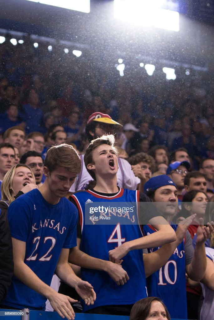 Kansas Jayhawks fans attempt to energize the Kansas Jayhawks as they took on the Arizona State Sun Devils in the second half at Allen Fieldhouse on December 10, 2017 in Lawrence, Kansas.