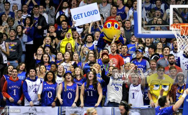 Kansas Jayhawks fans cheer on their team during a game against the Oklahoma State Cowboys in the second half at Allen Fieldhouse on February 3 2018...