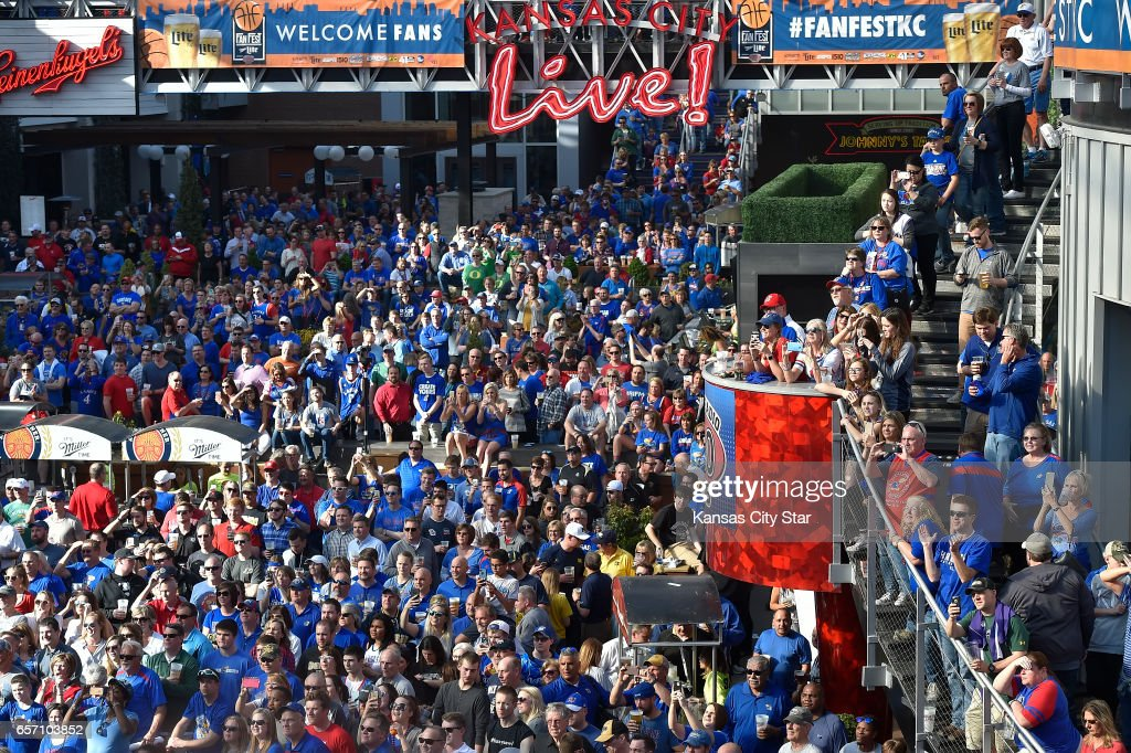 Kansas Jayhawks Fans Fill The Power U0026 Light District Across From The Sprint  Center Prior To