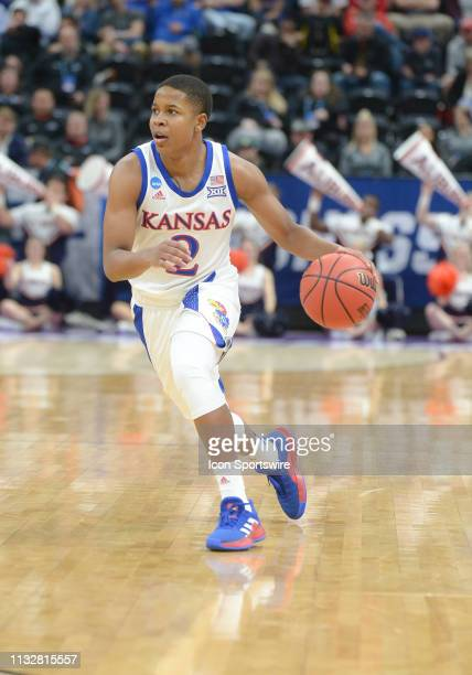 Kansas Jayhawks guard Charlie Moore during a game between the Auburn Tigers and the Kansas Jayhawks on March 23 2019 at Vivint Smart Smart Home Arena...