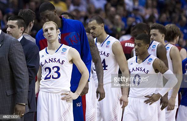 Kansas Jayhawks guard Conner Frankamp looks up at the scoreboard at the end of the game The Stanford Cardinal defeated the Kansas Jayhawks 6057 in...