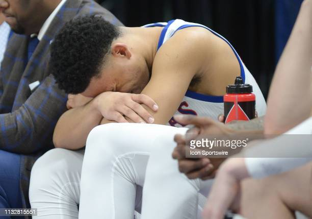 Kansas Jayhawks guard Devon Dotson reacts after he checks out of the game during a game between the Auburn Tigers and the Kansas Jayhawks on March 23...