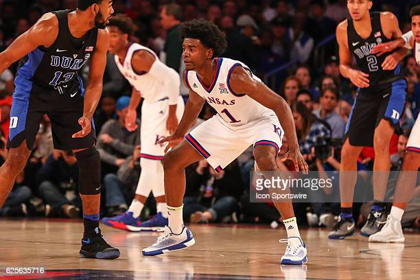 Kansas Jayhawks guard Josh Jackson defends during the first half of the Champions Classic NCAA basketball game between the Kansas Jayhawks and the...